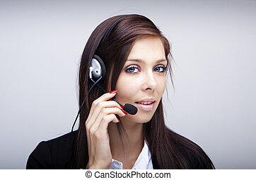 femme affaires, à, casque à écouteurs