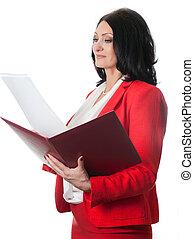 femme affaires, à, dépliant rouge