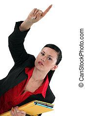 femme affaires, à, elle, main haut