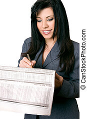 femme affaires, à, journal