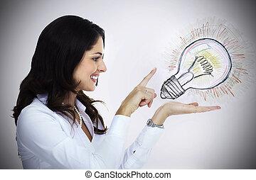 femme affaires, à, lightbulb.