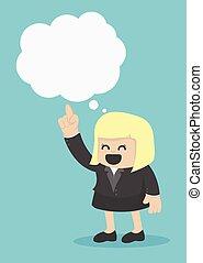 femme affaires, à, parole, bulles