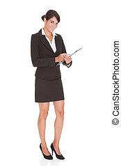 femme affaires, à, presse-papiers
