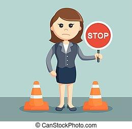femme affaires, à, stop