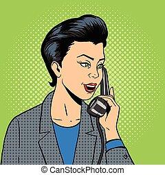 femme affaires, à, téléphone, vecteur