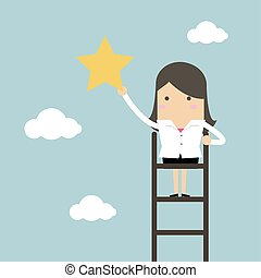 femme affaires, échelle, étoile, saisir, sky.