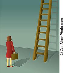 femme affaires, échelle, constitué