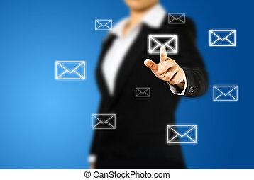 femme affaires, écran, main, toucher, urgent, lettre, interface, email