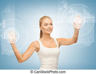 femme affaires, écran, toucher, virtuel