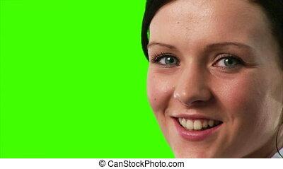 femme affaires, écran, vert, métrage