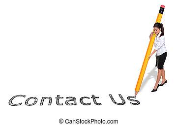 femme affaires, écriture, nous contacter, à, a, géant, crayon