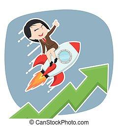 femme affaires, élévation, asiatique, fusée, graphique