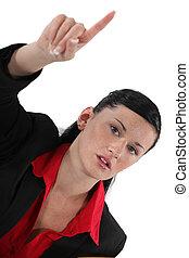 femme affaires, élévation, elle, main