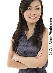 femme affaires, 5, asiatique