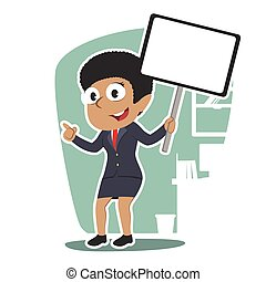 femme affaires, africaine, planche, tenue, signe