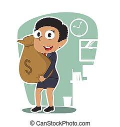 femme affaires, africaine, tenue, sac, argent
