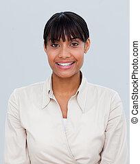 femme affaires, afro-américain, sourire, portrait