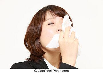 femme affaires, allergie