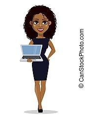 femme affaires, américain, africaine