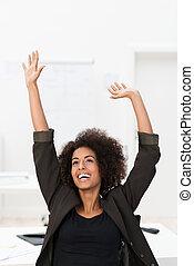 femme affaires, américain, africaine, réjouir