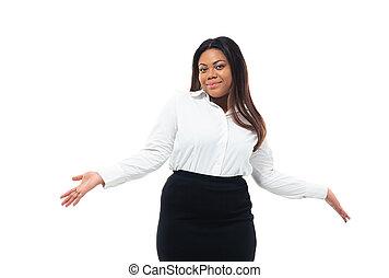 femme affaires, américain, afro, épaules, gesticulation