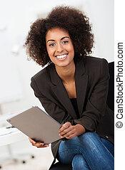 femme affaires, américain, amical, africaine