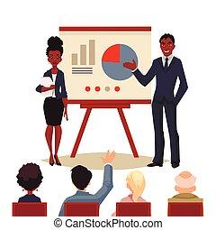 femme affaires, américain, tenue, africaine, homme affaires, présentation