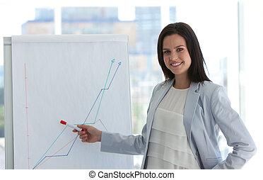 femme affaires, analyser, marché, stockage