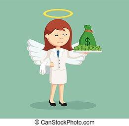 femme affaires, ange, argent