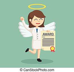 femme affaires, ange, certificat, récompense