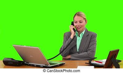 femme affaires, appel téléphonique, blonds, complet, avoir