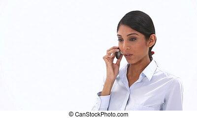 femme affaires, appeler