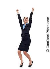 femme affaires, applaudissement, à, elle, bras augmentés