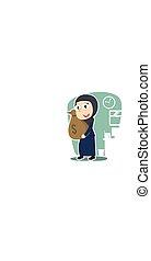 femme affaires, arabe, tenue, sac, argent
