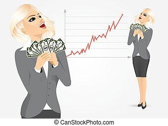 femme affaires, argent, apprécier