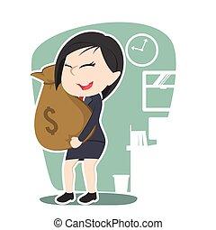 femme affaires, argent, asiatique, sac, tenue