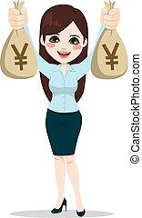 femme affaires, argent, asiatique, tenue, sacs
