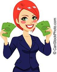 femme affaires, argent, ventilateur, reussite