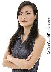 femme affaires, asiatique, 7