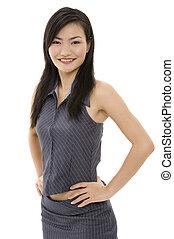 femme affaires, asiatique, 8