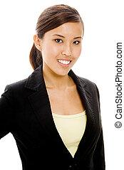 femme affaires, asiatique