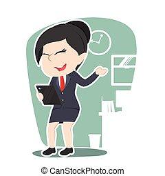 femme affaires, asiatique, tablette, tenue