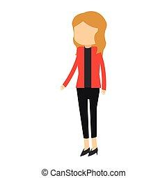 femme affaires, avatar, dessin animé