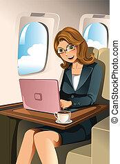 femme affaires, avion