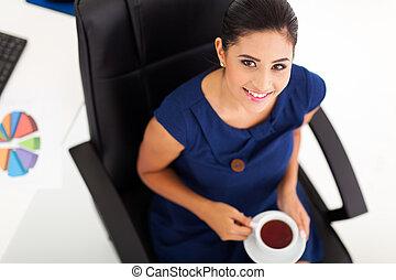 femme affaires, avoir, thé