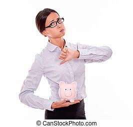 femme affaires, banque, porcin, désapprobation, tenue