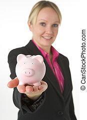 femme affaires, banque, tenue, porcin