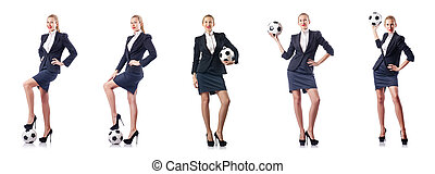 femme affaires, blanc, football