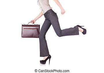 femme affaires, blanc, isolé, fond
