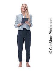 femme affaires, blanc, jeune, isolé, sourire, calculator.